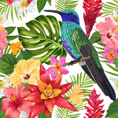 Floral Tropical Seamless Pattern with Exotic Flowers and Humming Bird. Blooming Flowers, Birds and Palm Leaves Background for Fabric, Wallpaper, Textile. Vector illustration