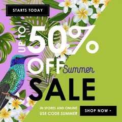 Summer Sale Banner with Tropical Flowers, Palm Leaves and Humming Birds. Floral Template for Promo, Discount Flyer, Voucher, Advertising. Vector illustration