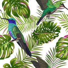 Floral Tropical Seamless Pattern with Humming Bird. Birds and Palm Leaves Background for Fabric, Wallpaper, Textile. Vector illustration
