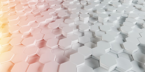 White and orange hexagons background pattern 3D rendering