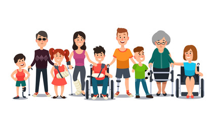 Disabled characters. People with special needs. Student in wheelchair, man with disability and elderly on crutches cartoon vector set