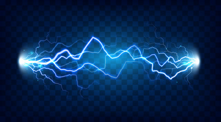 Electric discharge shocked effect for design. Power electrical energy lightning or electricity effects isolated vector Wall mural