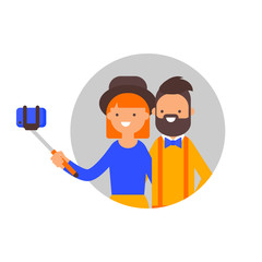 Vector illustration of a couple taking selfie