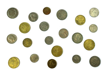 Different coins of old Greek Drachma. Assortment of coins- of one hundred, fifty, twenty, ten and five drachmas.