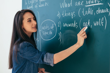 Student or teacher standing in front of the class blackboard