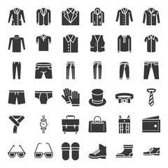 Male clothes and accessories solid icon set 3