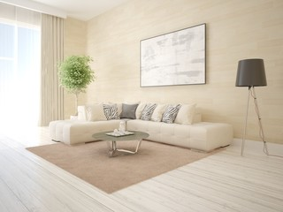 Mock up the living room in a modern style with a corner sofa and a fashionable floor lamp.