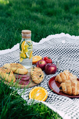 picnic in a park on the grass, tablecloth in a cage, snacks, water with lemon in a glass bottle, weekend, vacation