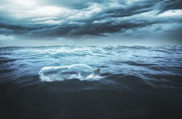 Plastikflasche treibt auf dem Meer