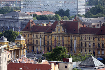 Historic lower town architecture with building of the Museum of Arts and Crafts in Zagreb, Croatia
