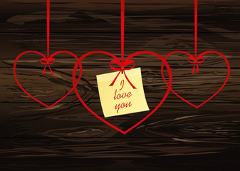 A ribbon in the shape of a heart. Red bow. Greeting card or invitation for a holiday. St. Valentine's Day. Love. Empty place for text or advertising. Vector on wooden background.