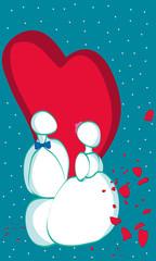 Le mariage des personnages au coeur amoureux en couple à la Saint-Valentin