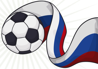 Soccer Ball with Waving Russian Flag for Soccer Championship, Vector Illustration