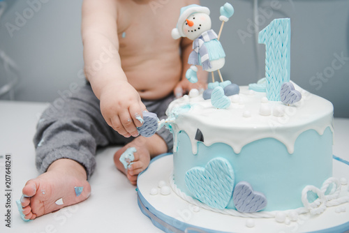 Astonishing Kids Feet Near The Cake Cute Little Boy Eating His First Funny Birthday Cards Online Elaedamsfinfo