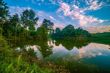 Beautiful sunset at lake in District Lake in china