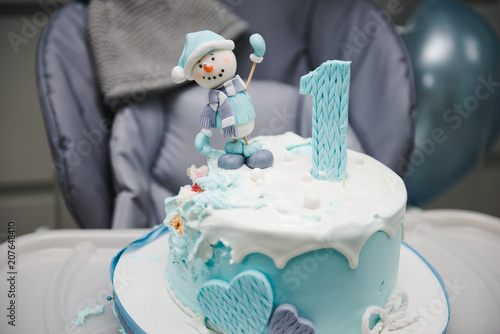 Colorful Decoration Of A First Year Birthday Cake Baby Smash For
