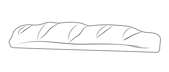 Vector illustration, isolated bread baguette in black and white colors, outline hand painted drawing