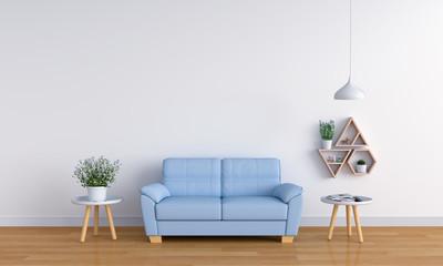 Blue sofa in white living room, 3D rendering