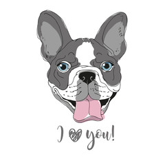 Happy dog portrait vector illustration.Print for t shirts, cards
