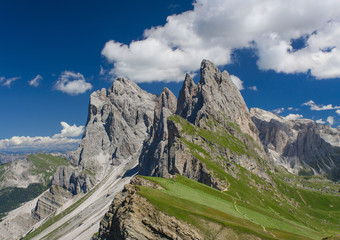 alpine mountain peak in Italy Alps, Seceda Odle. Dolomites