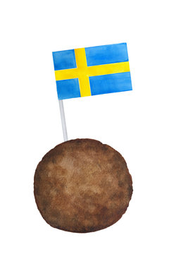 Classic Swedish meatball with Sweden country flag on little tooth pick. One single object; brown, blue, yellow colours; front view. Hand drawn water color painting on white, isolated clip art.