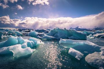 Jokulsarlon - May 05, 2018: Stunning blocks of ice in the Iceberg lagoon of Jokulsarlon, Iceland