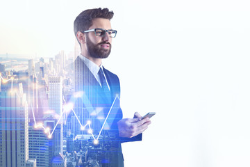 Businessman using forex smartphone