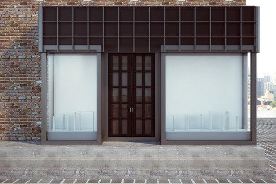 Modern storefront with empty billboard