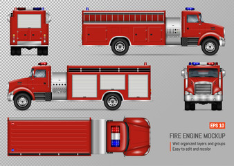 Fire truck engine vector mockup for vehicle branding, corporate identity. View from front, back, top, left and right side. All elements in the groups on separate layers for easy editing and recolor.