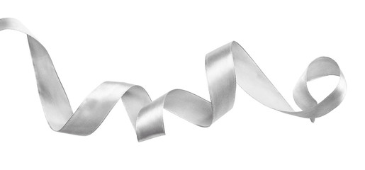 Curled silver silk ribbon