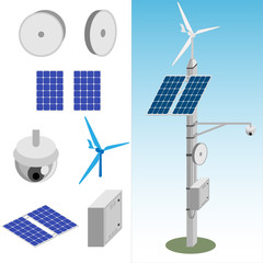 transmission tower with satellite dish, CCTV camera, windmill, solar panel and line distributor