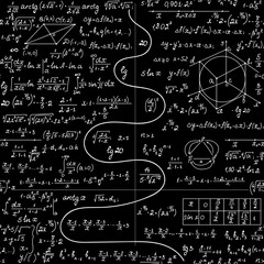 "Math vector seamless pattern with plots, figures, equations, formulas and calculations, ""handwritten with chalk on school blackboard"" effect"