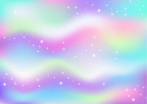 Fairy space magical glow background with rainbow mesh. Multicolor universe banner in princess colors. Fantasy  pink gradient backdrop with hologram. Holographic fairy with magic sparkles and stars
