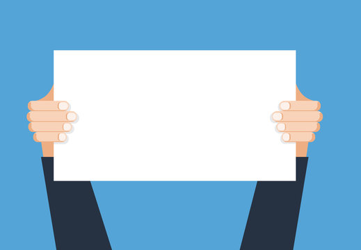 Hand holding placard.Vector flat cartoon illustration for web banners,infographic design. Empty protest sign.Propaganda poster.Announcement banner for advertising for new business