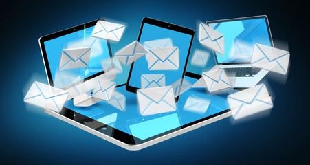 Digital e-mails flying through devices screens 3D rendering