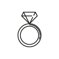 Diamond Ring Thin Line Icon Illustration Design