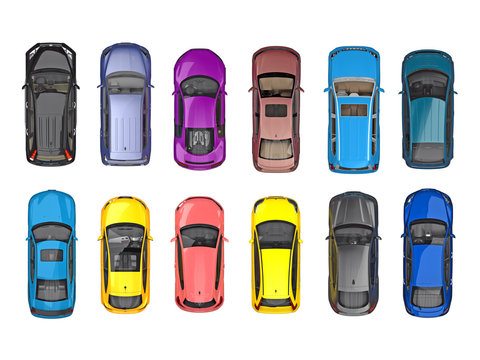 group of cars on top view isolated on white