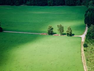 Top down view on farmland
