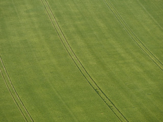 Top down view on farmland with tractor tracks