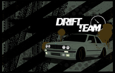 Abstract Car Background in Grunge Style. A Dirty Banner Template With a Car on The Subject of Drift, Racing, Auto Show. Vector Illustration, Auto Grunge Background With Traces of Tires, Treads