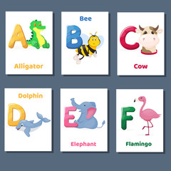 Alphabet printable flashcards vector collection with letter A B C D E F. Zoo animals for english language education.