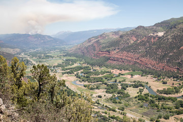 Smoke plume from the 416 Fire in Hermosa, Colorado