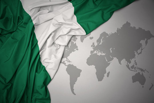 waving colorful national flag of nigeria.