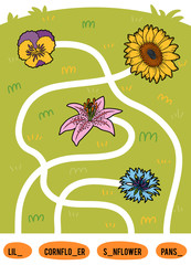 Maze game for children. Set of flowers