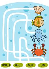 Maze game for children. Set of sea animals