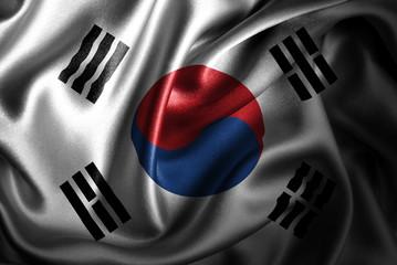 South Korea Silk Satin Flag