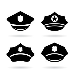 Policeman or serviceman cap vector icon