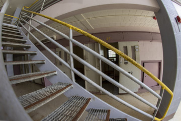 Stairs in cellblock of old prison