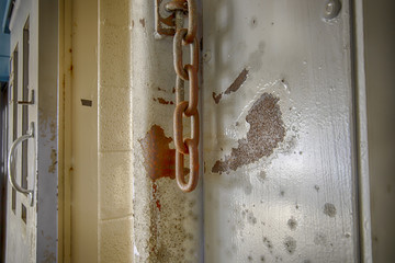 Chains on prison cell door