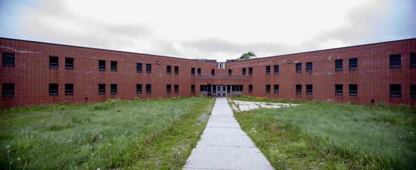 Cellblock E exterior, abandoned prison